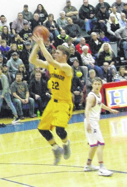 Northmor's Brock Pletcher hit the game-winning shot late in the fourth quarter of his team's closely-contested battle at Highland Friday.