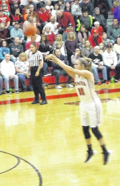 Cardington's Kynlee Edwards launches a three-pointer on her way to a game-high 23-point performance on Friday.