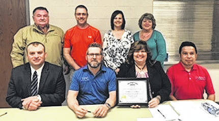 Front, from left, Chad Redmon, Superintendent; Jeff Whisler, BOE President; Tammi L. Cowell, Treasurer/CFO; Louie Cortez, BOE member. Back, from left, Carlyle Smith, BOE member; Tim Bachelder, BOE member; Marcie Whited, Assistant Treasurer; Carolyn Beal, BOE member.