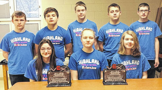 Championship team members. Standing, from left, Cade Harris, Jon Jensen, Bryan Erdy, Eli Grandstaff and John Baker. Seated are Melia Coey, Ryleigh Howard and Faith Stewart.