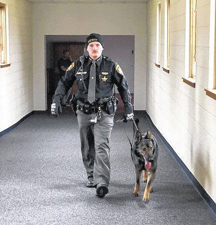 Deputy James Coulter of the Morrow County Sheriff's Office and his dog, K9 Officer Stormy.