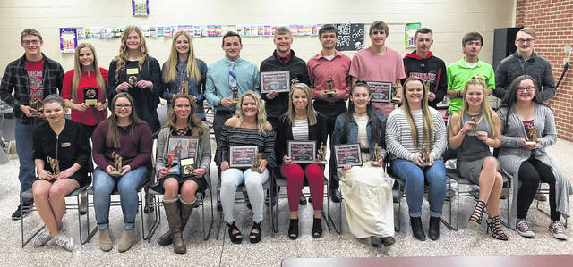 Pictured are the Cardington-Lincoln High School winter sports award winners. Back row (l-r): Skyler Streich, Kynlee Edwards, Kyndall Spires, Paige Clinger, Dylan Goodman, Daniel Kill, Brandon Steckel, Garrett Wagner, Jakob Edgell, Blake Clapham and Eric Hamilton. Front row: Stella Miller-Spires, Frankie Arnold, Sage Brannon, Aleigha Parsons, Sydney Vaught, Lilly Grooms, Kinnedy Ratliff, Reagan Spires and Laynee Wilson. Not pictured are Alexis Miller-Spires, Hannah Wickline and Alex Maceyko.
