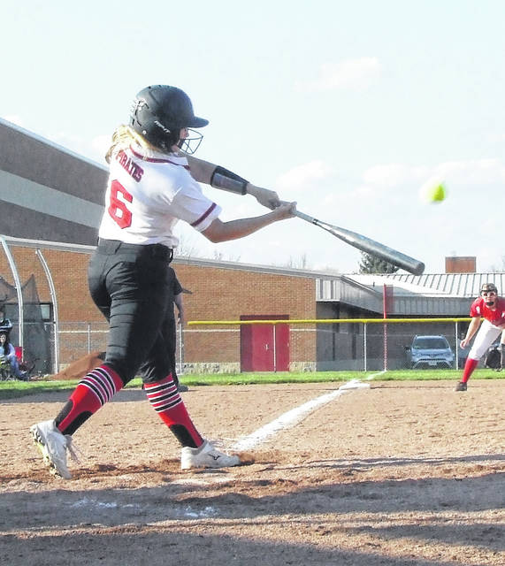 Cardington's Allie Moore hit two home runs in the fourth inning and had a six-RBI performance against Highland Friday.