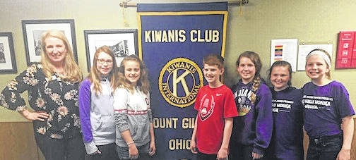 Adviser Erin Kelty and K-Kids officers, from left, Faith White, Kaydence McKenzie, Rowan Fitzpatrick, Ava Baker, Savannah Wilt and Kate Kelty.
