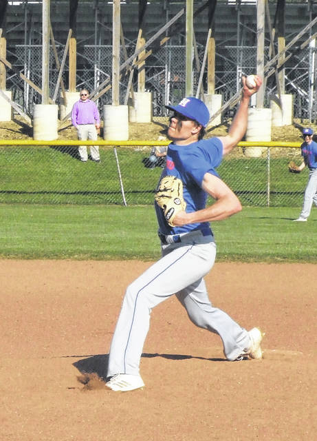 Highland's Mack Anglin pitched a fine game in leading Highland to a 13-1 win over Northmor Monday.