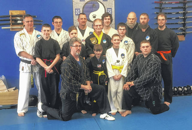 Wolfpak recently held promotions, including that of Cody Levalley to second degree black belt in hapkido. Pictured are, back row (l-r): instructor Roy Conley, Casey Knipp, Shane Gabriel, Josh James, Master Tom Wolf, Rick Smith and Wes Stauffer. Middle row: Logan Welsh, Caitlynn Berthold, instructor Larry Foster and assistant instructor Justin Burkey. Front row: Master Sam Wolf, Braylin Romshak, Collin Gabriel and instructor Cody Levalley.