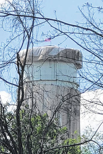 Mount Gilead's North Water Tower is being sand blasted and painted this week.