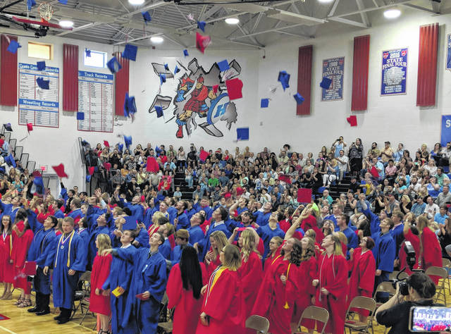 Highland High School's 124 graduates cheer and throw their caps in the air Sunday, May 20, after commencement exercises. More photos online at www.morrowcountysentinel.com and look for a special section next month saluting all Morrow County 2018 graduates.