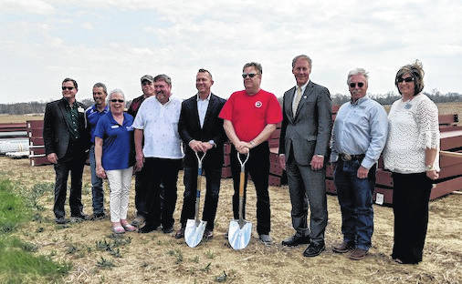 Groundbreaking for Wellness Supply Group from left are: Shane Farnsworth, Larry Squires,Chester Twp. Trustee; Brenda Lesko of LSI, Lynn Shinaberry, Chester Township Trustee; Commissioner Burgess Castle, Tim Duffey, Rocky Bonecutter, Commissioner Tom Whiston,Commissioner Warren Davis and Chamber of Commerce Director, Shelley Planey.