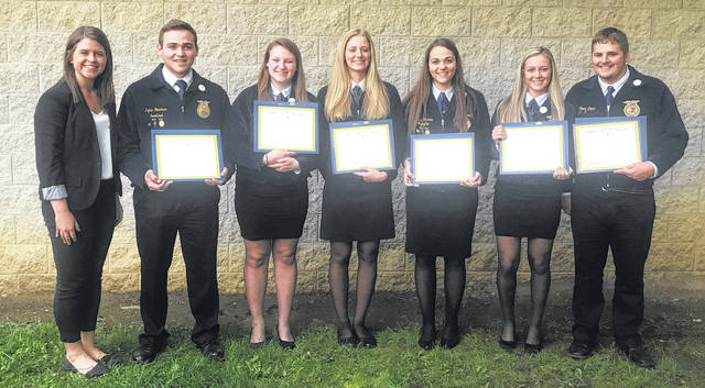 Cardington FFA state degree winners at the recent state FFA convention. They are, from left, Erin Wollett, chapter advisor; Dylan Goodman, Tess Ruehrmund, Paige Clinger, Delisa Goodman, Brooklyn Whitt and Trent Crum.