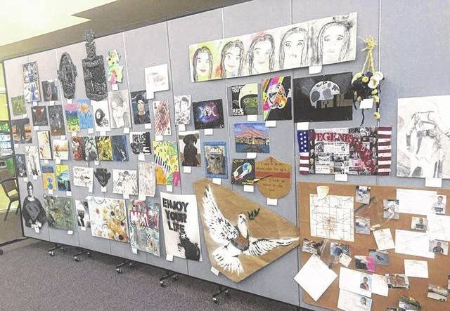 Artwork by several hundred students was on display Thursday at the Mount Gilead High School auditeria. This marked the first time work by elementary, middle school and high school students were displayed together.