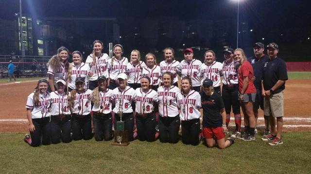 Cardington Lady Pirates after Saturday's state championship softball game.