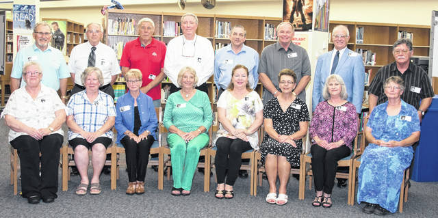 The Cardington-Lincoln High School Class of 1968 was honored on the 50th anniversary of their graduation when they were introduced individually during the recent Cardington-Lincoln High School Alumni party. This class was the first to graduate from the current building on Chesterville Avenue following its construction in 1968. The class graduated with 62 members, sixteen are deceased. Those attending the alumni party are pictured: Back row, from left: Jeff McCutchen, Jim Dutt, Ronnie Thompson, Randy Burns,Gary Ebert, Scott Breckner, Lawrence Dennis and Larry Smith. Seated: Joyce Hunt Corbin, Dianne Davis Carwell, Janice Fryman Burch, Linda McAlister, Jeanne Maxwell Vaughan, Bonnie Levering Carsner, Sandy Redman Wigton and Jean Showalter Smith.