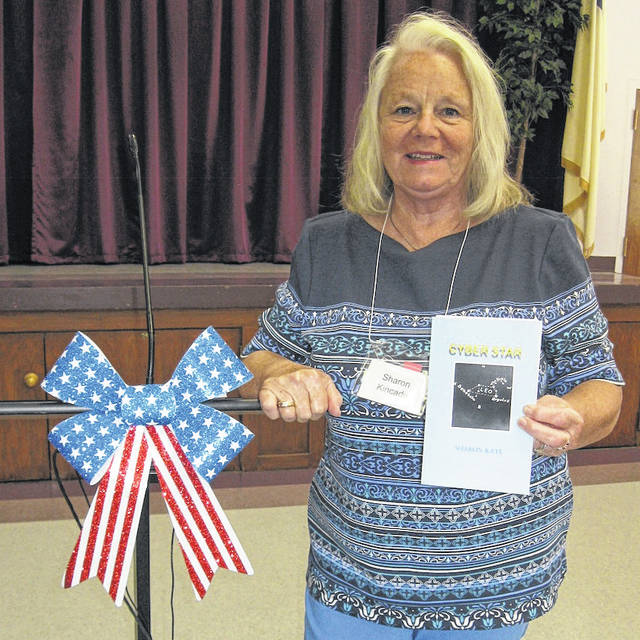 """Sharon Kincade told of her experiences in writing and self-publishing her first novel, """"Cyber Star,"""" when the Morrow County Retired Teachers met for lunch June 4 at Trinity UM Church."""