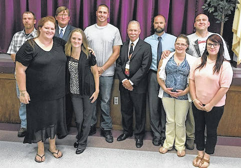 Pictured during the Morrow County Court of Common Pleas Substance Abuse Court Summer Graduation, are front row, from left: Kelly Frost, Olivia Hatten, Shannon Waterhouse, and Angelica O'Brien. Back row: Rob Hobson, Judge Tom C. Elkin, Dana Waddell, Judge Robert C. Hickson, Jr., Probation Officer Andrew Szteiter, and Smitty Gayheart. Not Pictured: Zachary Horton and Probation Officer Renee Watts.