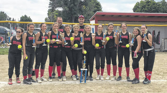 Cardington Black had a great season, going 9-1 and also winning the Morrow County 13U softball tournament. Pictured are, back row (l-r): Coaches Matt Longsdorf and Mike Struck, not pictured Laura Longsdorf. Front row: Jessica McGee, Makenna Dudgeon, Autumn Holt, Abby Ufferman, Kearston Dudgeon, Ella Struck, Samantha Spires, Olivia Holt, Kaleigh Ufferman, Layla Shinaberry, Mina Bentley, Kennedy Maceyko, not pictured Genevieve Longsdorf.