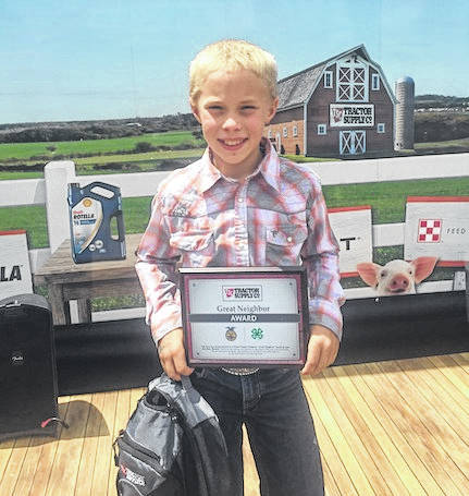 "Cardington student Lane Hughes was recognized as a winner of Tractor Supply's ""Great Neighbor"" Essay Contest at the Ohio State Fair on July 28."