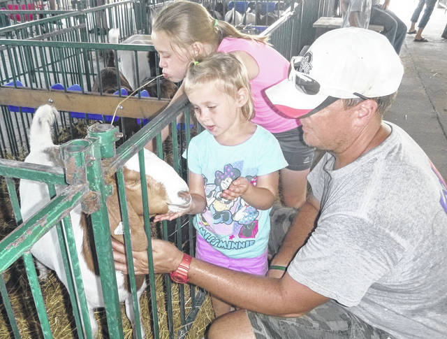 Matt White and nieces Bentley and Haylee Walker get their market goats settled in during Monday's move-in at the Morrow County Fair. More photos at morrowcountysentinel.com.