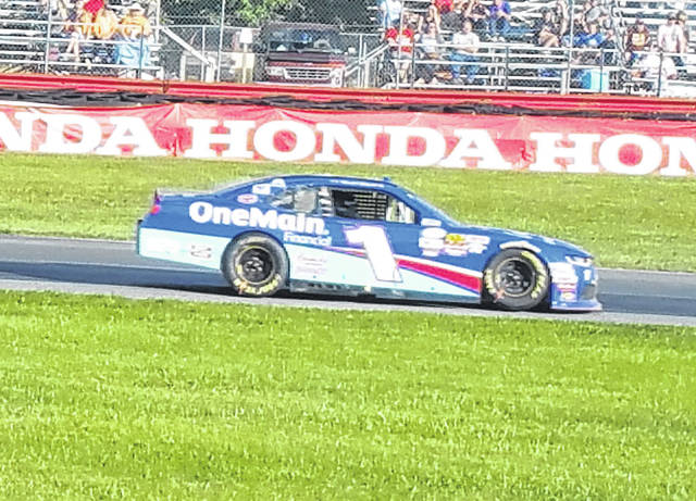 Elliott Sadler, shown running in the 2017 Xfinity series race at Mid-Ohio, is dueling for the season title in that series this year, as well as raising awareness for food allergies and what his family is doing to combat them with the help of his partnership with AUVI-Q.