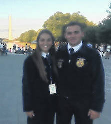 Delisa and Dylan Goodman, with the Washington Monument in the background, during their trip to the the Washington, D.C. FFA Leadership Conference.