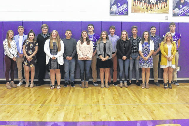 Freshmen Ella Frazier and James Mathwig, Sophomores Hailee Fields and Kyler Hall, Juniors Lacie Baldwin and Dallen Maynard, Seniors Hailey Dean and Tristin Seitz, Seniors Jenilee Morgan and Kyle White, Seniors Claire Butcher and Casey White, Seniors Jadyn Shipman and Micah Tuggle, Seniors Makayla Howard and Mason Mollohan.