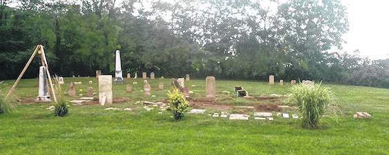 Some of the stones that have been refurbished and reset at Pagetown Cemetery by Tim Foor. More photos online at morrowcountysentinel.com.