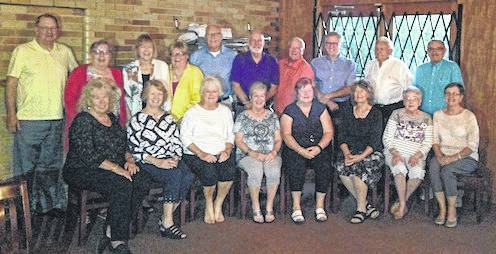 The Mount Gilead High School class of 1963 held its 55th reunion at The Warehouse Italian Restaurant in Marion Sept. 15. Attending were, first row, from left, Sandy Rhodebeck Decker, Linda Furniss Erwin, Ronda Rathburn Creese, Barb Higgins Rhoads, Myra Ward Beech, Judy Orsborn McKirgan, Carol Lee Mann, Bonnie Dilsaver Brannon. Second row, John Rexford, Jane Hunt Redmond, Donna Shade Hull, Curl Williamson, Tom Ansley, Bob Shoaf, Jerry Ashbrook, Keith Early, Dave Decker, Dave Nicholson.