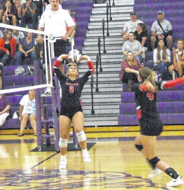 Cardington's Kyleigh Bonnette sets the ball for a teammate in her team's Tuesday night win at Mount Gilead.