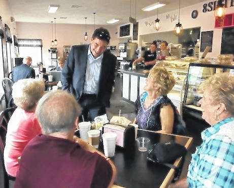 Troy Balderson made several stops in the county introducing himself to local residents at 8 Sisters Bakery.