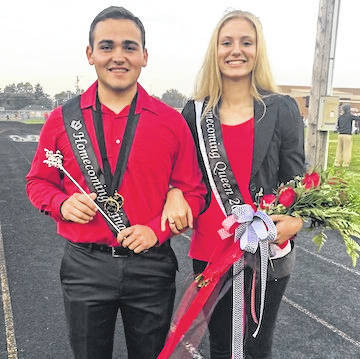 Cardington-Lincoln High School homecoming king and queen, Dylan Goodman and Paige Clinger. They were chosen Friday night.