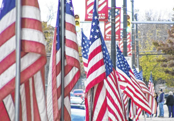 Flags line downtown Mount Gilead during 2016 Veterans Day program.