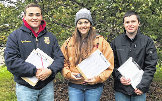 Dylan Goodman, Delisa Goodman and Jacob Levering, winners in the recent State FFA Urban Soils contest.