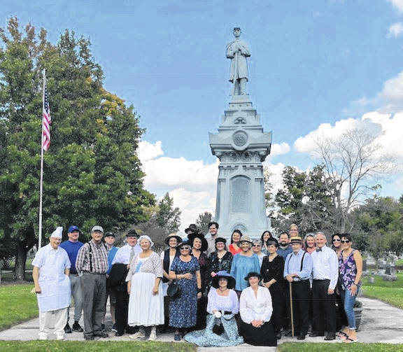 Here are the personnel who participated in the Glendale Cemetery Tour standing in front of the Civil War Monument. Money generated from the tour goes to the fund for repair of the monument.