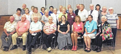 The 60th reunion of the Mount Gilead Class of 1958 was held Sept. 15 at the Handlebar Ranch, Mount Gilead. Attending were, back row from left, Terry Hunt, Eva Wheeler Goode, Judie Nixon Dunn, Cynthia Ingmire Woodbeck, Gene McHugh-Tom Shields, Richard Miller-Phyllis Witzel Jiles. Middle row, Norma Martin Conkle, Janice Shaw Renger, Sharon Martin Collins, Mary Ann Vaughn Heitzman, Janet Germaine Craven, Marcelle Harris Miller, Roxanne Finley Rinehart, Jim Campbell, Gary Link, Sandy Callahan Guider, Sharon Gates Campbell. Seated, Don White, Marion Newman, Bill Andrews, Barbara Hershner Williamson, Sherry Mettler Mack, Patricia Patten Tipton, Sally Arnold Geyer, Marlene Belt Rengert, Jim and Kaye Campbell.