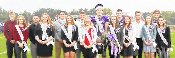Mount Gilead High School's homecoming court: Freshmen James Mathwig and Ella Fraizer, Juniors Dallen Maynard and Lacie Baldwin, Seniors Micah Tuggle and Jenilee Morgan, Seniors Kyle White and Makayla Howard, King Mason Mollohan and Queen Jadyn Shipman, Seniors Tristin Seitz and Haley Dean, Seniors Casey White and Claire Butcher, and Sophomores Kyler Hall and Hailee Fields.