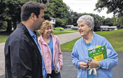 Democratic Congressional candidate Danny O'Connor was knocking on doors Saturday at Hickory Lane in Mount Gilead when he ran into Laurie Young and Pat Nesbitt returning from their mailbox.