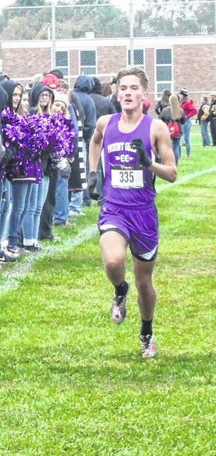Mount Gilead's Kyle White heads to the finish line in the KMAC cross county meet, hosted by his Indians.