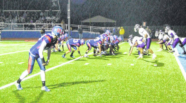 Highland lines up for a two-point conversion against East Knox Friday night. The Scots were successful on three of their five attempts to go for two on the night.