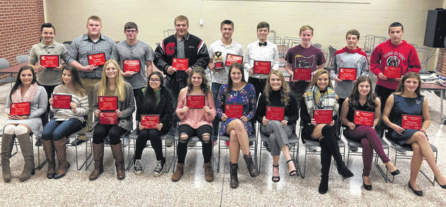 Pictured below are Cardington's fall sports award recipients. Back row (l-r): Jacob Belt, Nick McAvoy, Mason Goers, Deven Speck, Branden Steckel, Cayman Spires, Mason White, Michael Rose and Devin Gheen. Front row: Maci Morgan, Madyson Kinter, Paige Clinger, Citalee Higgins, Kayleigh Ufferman, Hannah Wickline, Grace Struck, Emily Benson, Paige Artz and Marlo Young. Isabelle Crum is absent from photo.