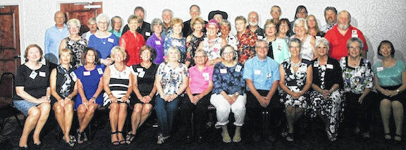 Seated: Cindy Clouse Greenlee, Diana Kuenzer Clouse, Sharon Kirkpatrick Basford, Jackie McPeek West, Bonnie Bachelder Heimlich, Mary Jordan Siegfried, Diana Shaw Lehman, Cindy Warner Boswell, Richard Gladden, Nancy Harden Waters, Rita Levings Murray, Laura Brown Pearce, Mary McHugh. Standing: Phil Troyer, Kathy Helman Richards, David Vanderkooi, Rhonda Rutherford Miller, Roger Richards, Jane Logan Schriver, Jim Lyon, Sharon Taylor Vanderkooi, Mike Hord, Cathy Kubbs Oyster, Tim Clapper, Patti Seaburn Feustel, Marcia McCombs Todd, Chris Gompf, Sandee Foster Wolfinger, Karen Shelton Jones, Gary Counts, Jane Petrie Griffith, George Hildebrand, Susan Mills Hedrick, Connie Shipman Segna, David Hinton, Judy Simpson Keil, Tracy Smith, Tom Farrington.