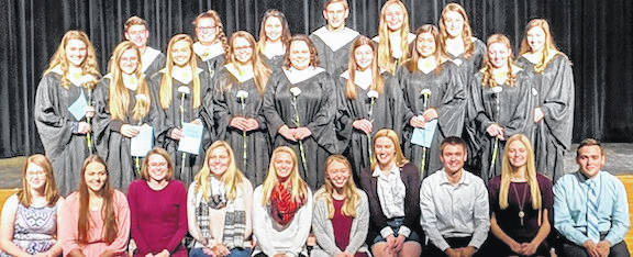New and current members of the Cardington-Lincoln High School National Honor Society. Back row: New inductees, from left: Liam Warren, Jillian Mills, Raelynn Counts, Sebastian Stolpa, Casey Bertke, Hannah Wickline and Emma Burchett/ Middle row: New inductees Grace Struck, Kiersen George, Emily Benson, Reanna Roth, Chantress DeWitt, Paige Artz, Ashleigh Morales and Taylor Linkous. First row: Current members: Grace Patrick, Delisa Goodman, Katie Lester, Jacelyn Mills, Aubrey Curtis, Heather Sparkman, Brianna McConnell, Branden Steckel, Paige Clinger and Dylan Goodman.