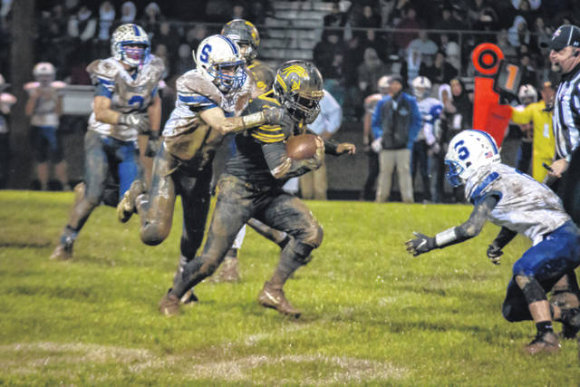 Erin Miller | Galion Inquirer Northmor running back Conor Becker led the Golden Knights to their first playoff win in school history, racking up 139 rushing yards and 42 via reception on Friday.