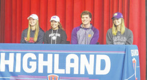 Four Highland athletes sign collegiate letters of intent