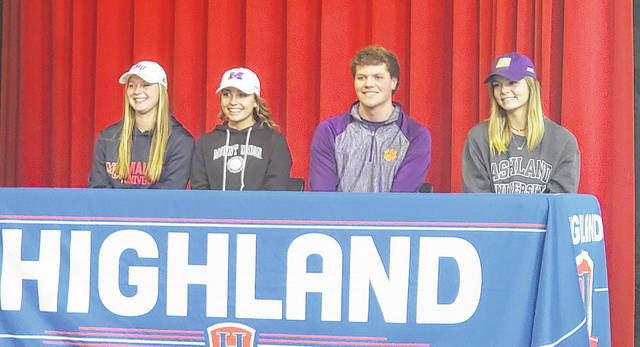 Highland seniors (l-r) Morgan Wilhelm, Liz Jensen, Mack Anglin and Caitlyn Karney signed their letters of intent to compete athletically in college last Wednesday. Anglin will play baseball, while Wilhelm, Jensen and Carney all will play softball.