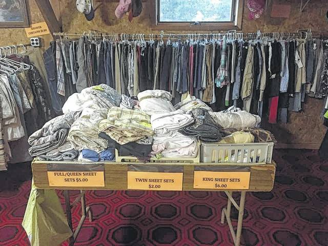 Clothing and bedding were available at The Disciple Shop in Fulton. It is closing Saturday, Dec. 22.