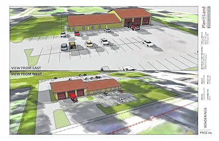 The drawing shows plans for new Big Walnut fire house in Chesterville.
