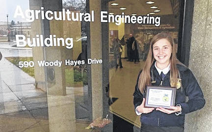 Emma Burchett, representing the Cardington FFA in the State Job Interview CDE, placed tenth in the competition. Participants were required to create a cover letter and resume prior to the contest. Members filled out a job application, had an interview and illustrated a follow up letter. To qualify for the state, Emma placed first in the district and first at county.