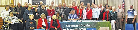 Shown are 40 members and guests of Chester Arbor of the Gleaners Insurance Society meeting at St. John Lutheran Church, Windfall, the last meeting of 2018.