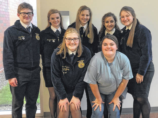 In photo of advanced team, Back row, from left: Luke Goers, Maddie Brehm, Sydney Spires, Isabelle Crum, Tess Ruehrmund. Front row: Carrie Meyers and alternate Mikayla Osborne.