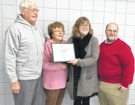 Shown, from left, are Dr. Allen Stojkovic, Rita Barton, Becky Glass and Todd James. Stojkovic was presented with his pin and certificate for donation of 29 gallons of blood.